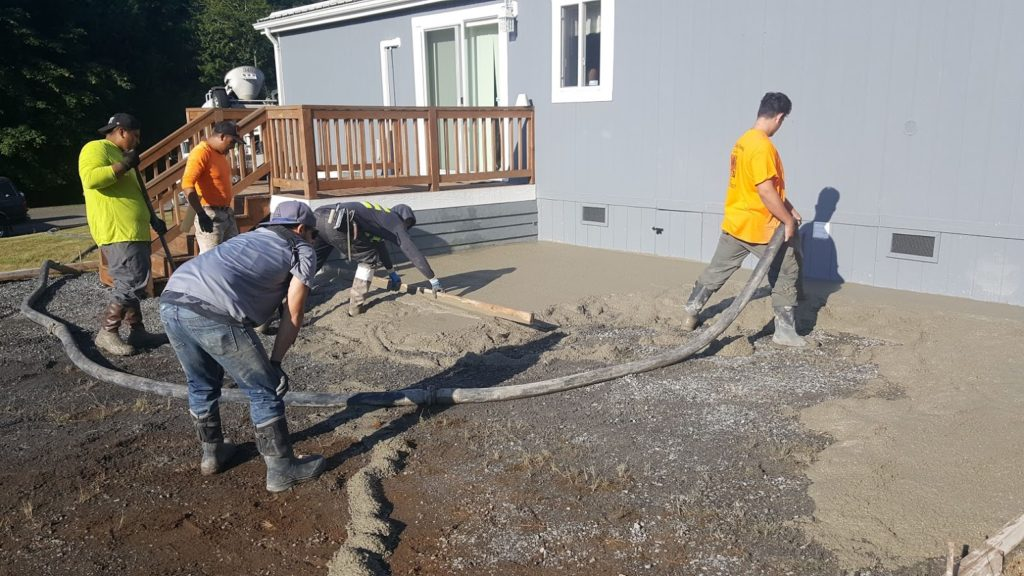 Back patio Pour Line Pump Finishers