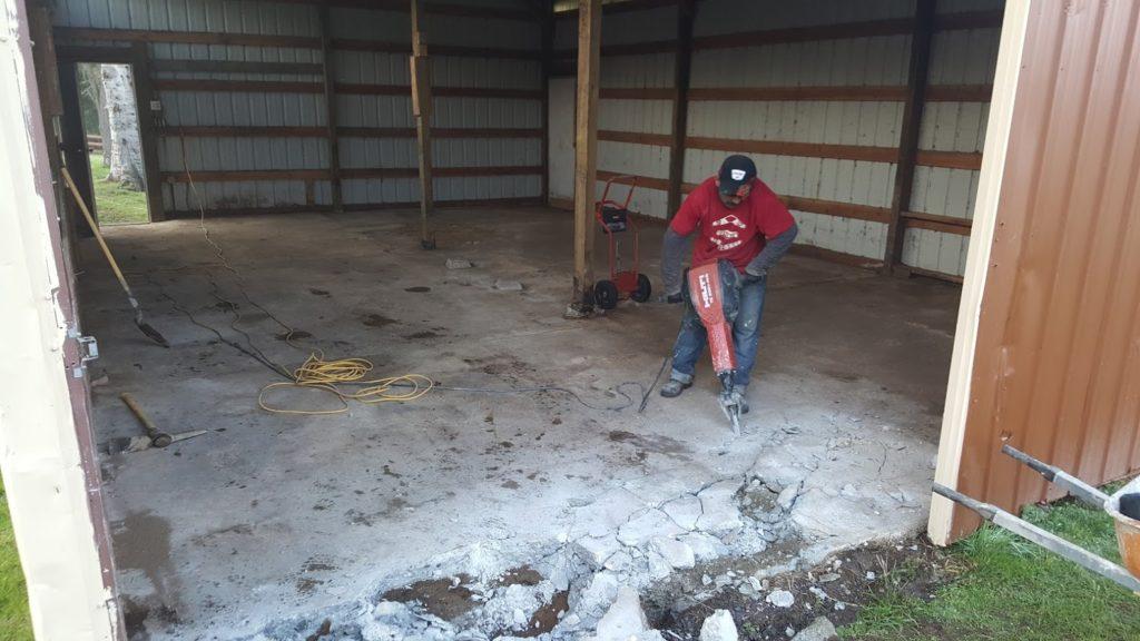 Breaking out Barn Floor