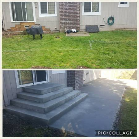 Broom Finish Concrete Back Patio With Steps