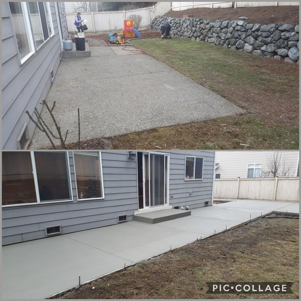 Concrete Back Patio Broom Finish