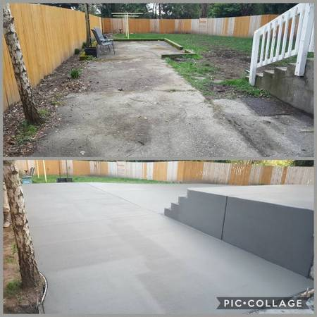 Concrete Back Patio Broom Finish one Color with Stoop