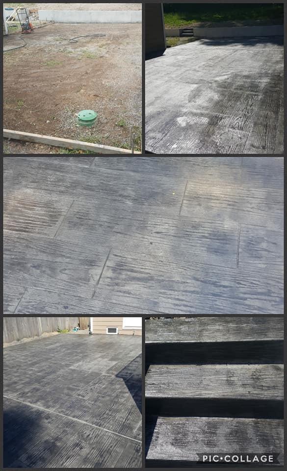 Concrete Back Patio Plank Design