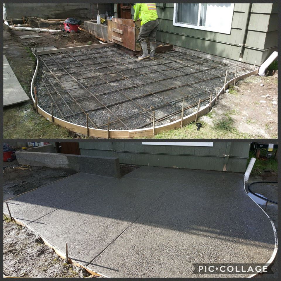 Concrete Back Patio With Radius Exposed Aggregate