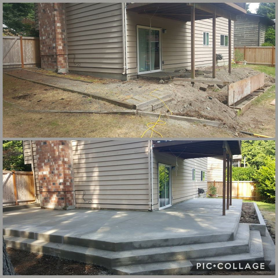 Concrete back patio and planter box