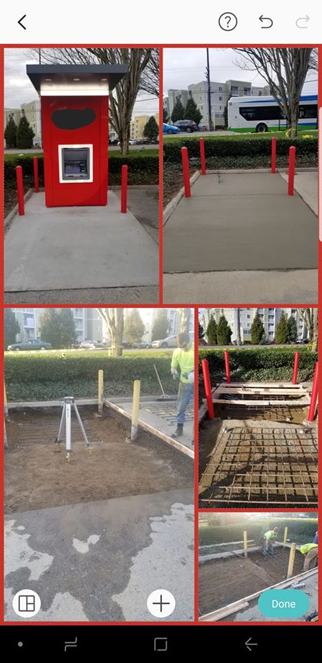 Concrete bollards foundation and slab